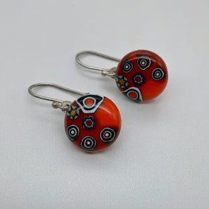 Shweshwe red dangle earrings
