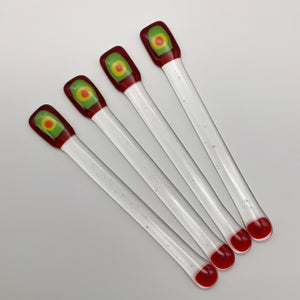 Red glass swizzle sticks