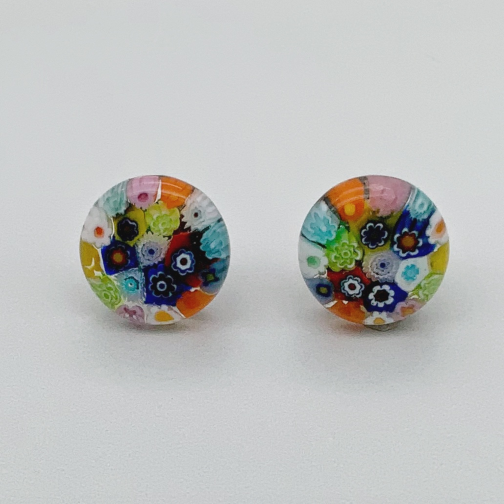Millefiori glass rainbow stud earrings - reversed flowers