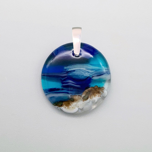 Seascape 35mm round glass pendant