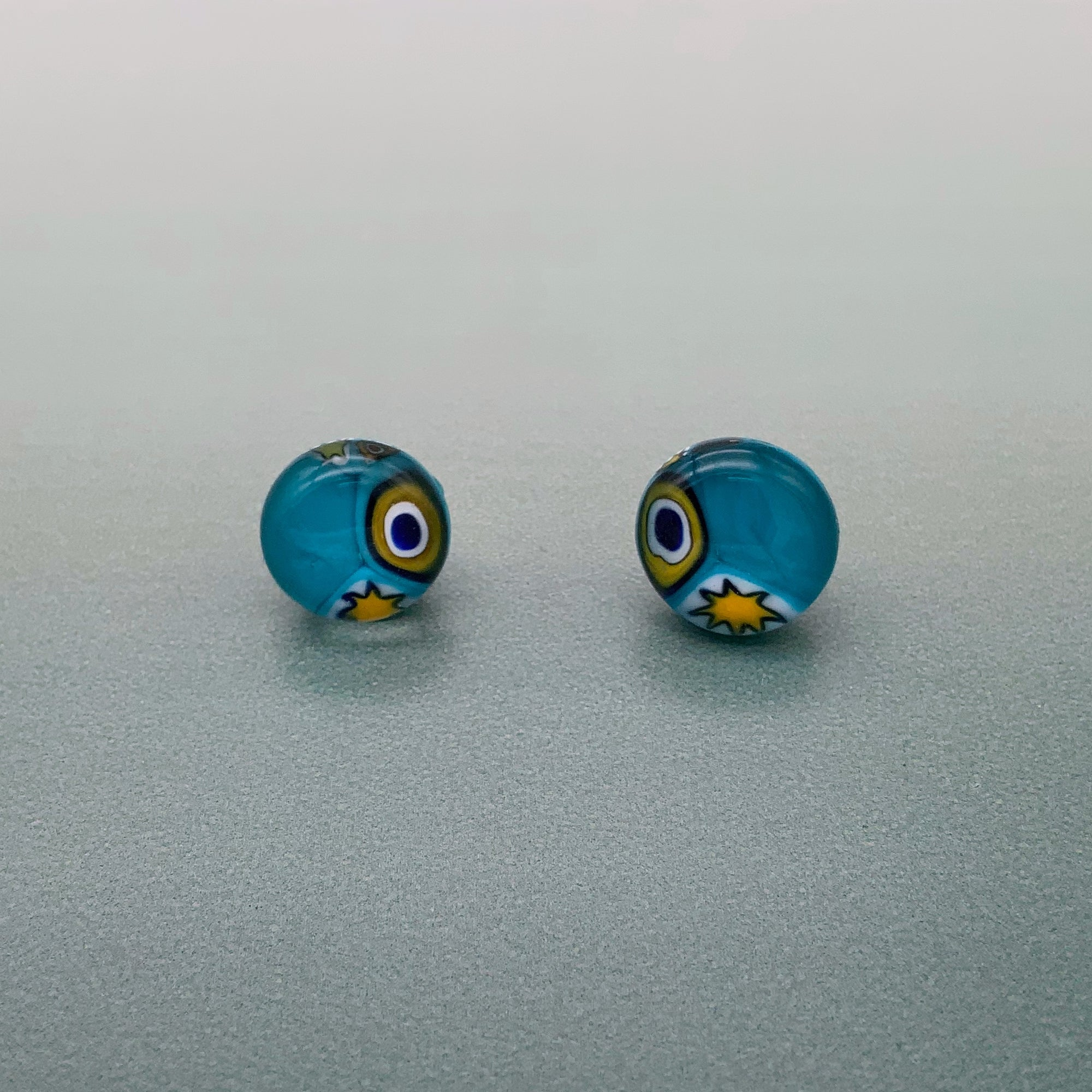 Shweshwe turquoise glass stud earrings
