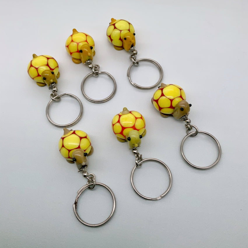 Glass tortoise keyring - yellow