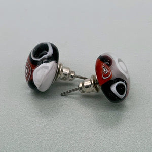 Black, red and white stud glass earrings