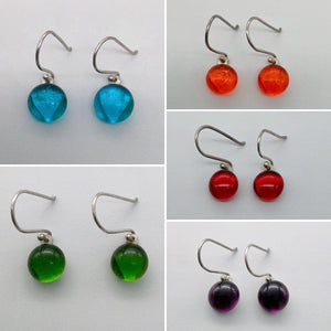 Transparent glass dangles in stunning colours