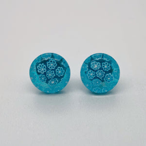 Fused turquoise fleurette stud earrings