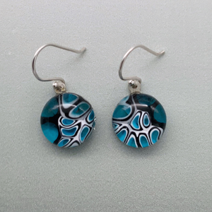 Murrini turquoise and black glass dangle earrings