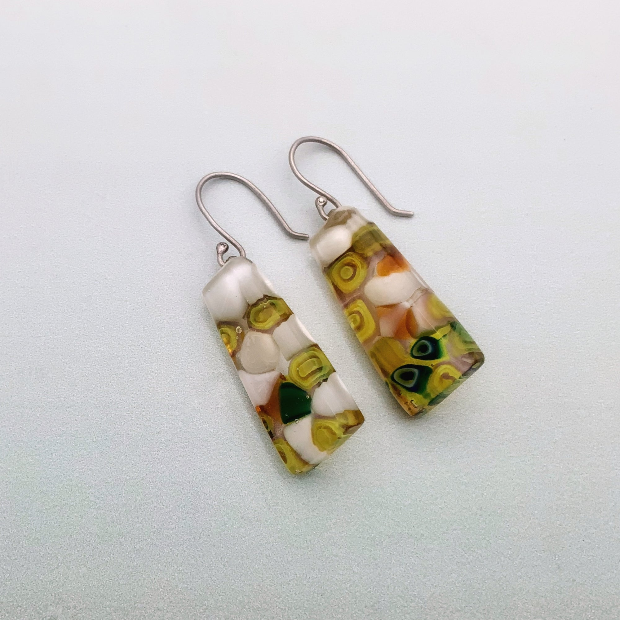 Rain forest glass wedge dangle earrings