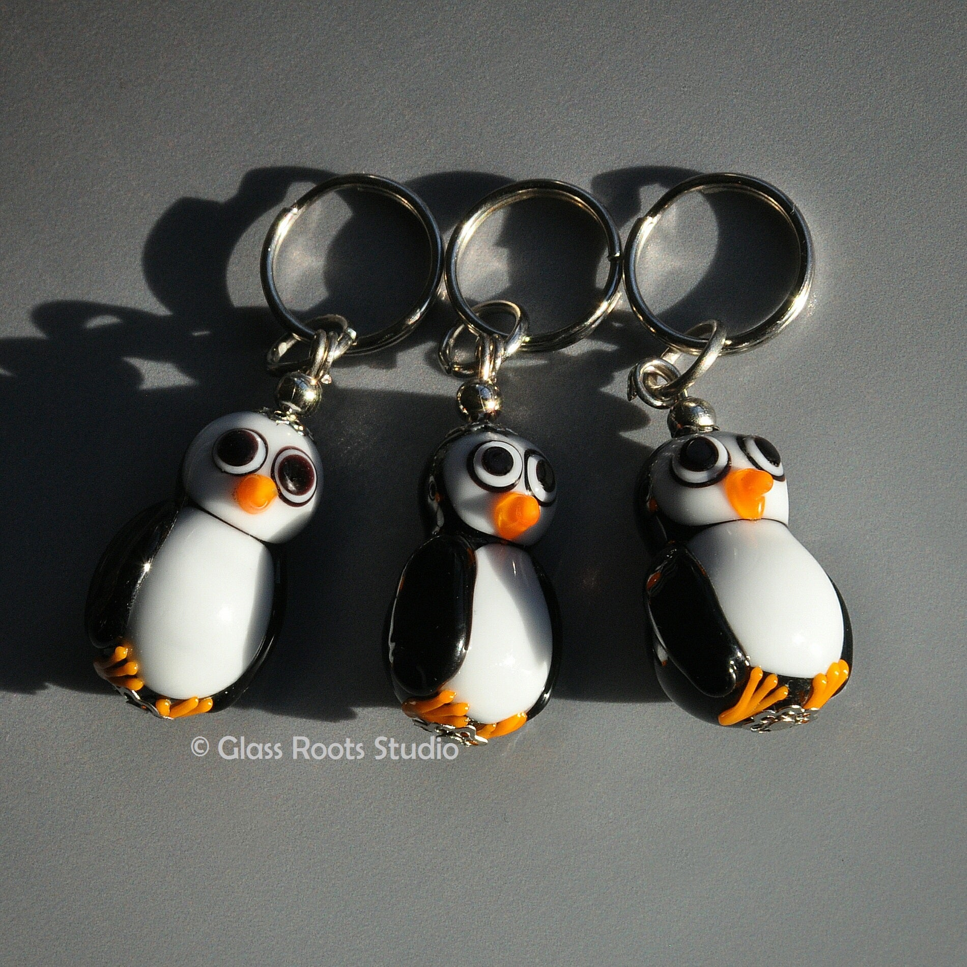 Murano Glass Penguin keyring