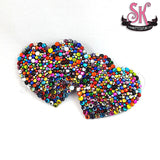 Heart-Shaped Caliope Riot Rainbow Rhinestone Pasties - SugarKitty Couture - 1