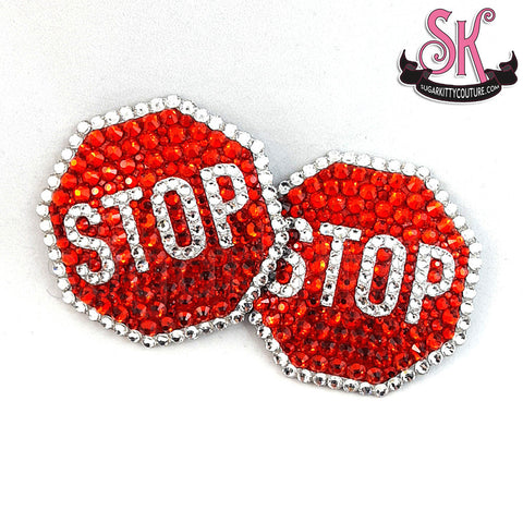 Stop Sign Rhinestone Pasties
