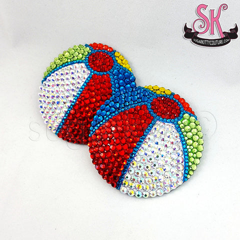 Beachball Rhinestone Pasties - SugarKitty Couture - 1