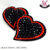 Curvy Striped Heart Rhinestone Pasties