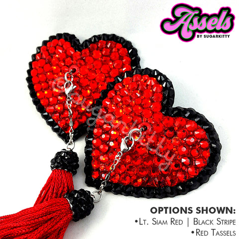 Heart Shaped Stripe Rhinestone Assels