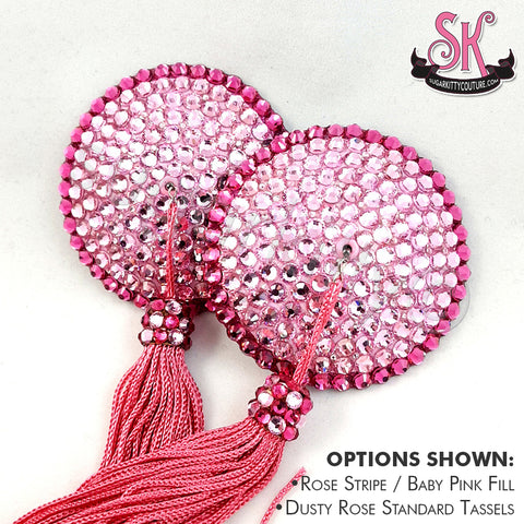 Striped Round Rhinestone Pasties