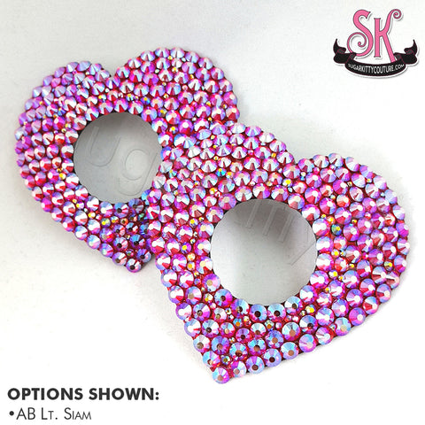 Heart-Shaped Peek-A-Boo Rhinestone Pasties