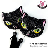 Black Cat Rhinestone Pasties