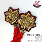 Striped 7-Point Star Rhinestone Pasties