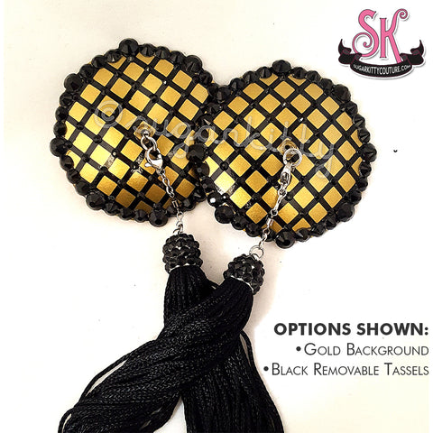 Faux Fishnet Round Rhinestone Pasties - SugarKitty Couture