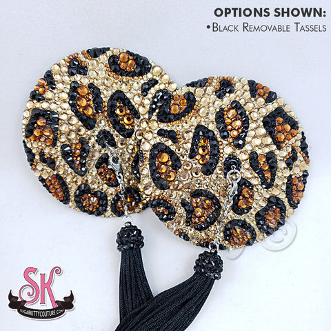 Round Animal Print Rhinestone Pasties