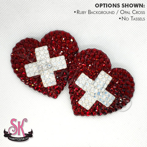 Cross Your Heart Rhinestone Pasties - SugarKitty Couture