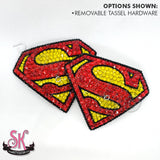 Superman Supergirl Logo Inspired Rhinestone Pasties