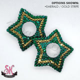 Striped 5-Point Star Peek-A-Boo Rhinestone Pasties