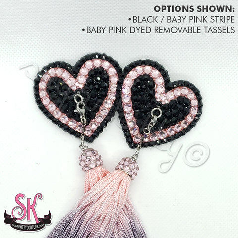 Striped Heart-Shaped Rhinestone Pasties