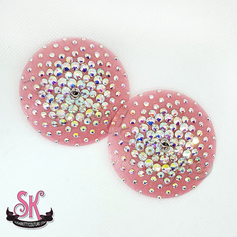 RTW Round Glitter Base Illusion Nipple Pasties • Size S