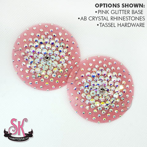 Round Glitter Base Illusion Rhinestone Pasties