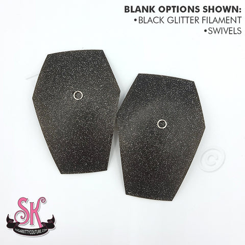 Glitter COFFIN Blank Pastie Bases