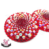 2-Color Variegated Round Rhinestone Pasties