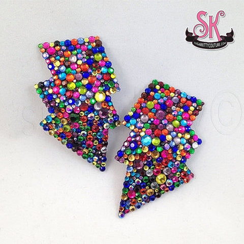 Calliope Riot Lightning Bolt Rhinestone Pasties - SugarKitty Couture