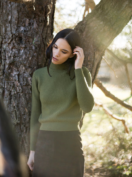 ANKA Sweater in Olive (Fitted) - XS