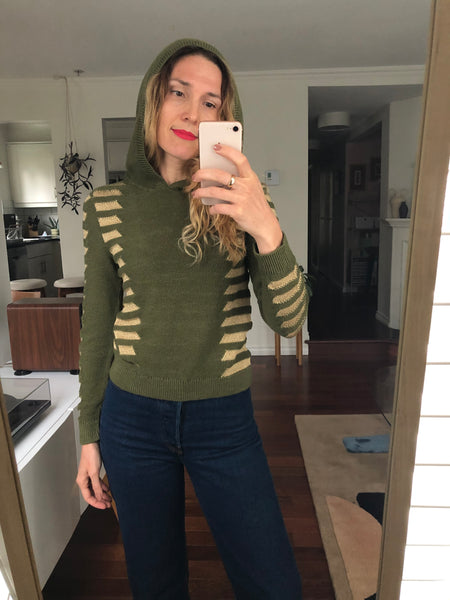 Hooded Sweater in Green/Gold - S