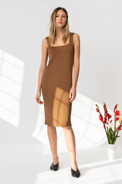 KLARA Dress in Metallic Brown