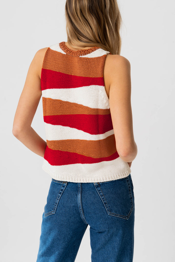NEDA Tank in Ginger/Cream/Lipstick Red