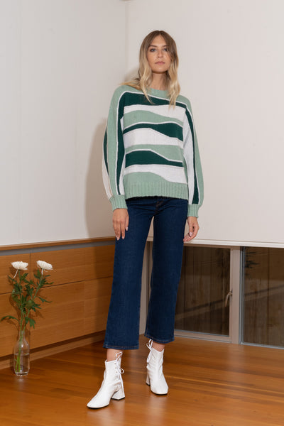 TATYANA Sweater in Forest/Cream/Hazy Green