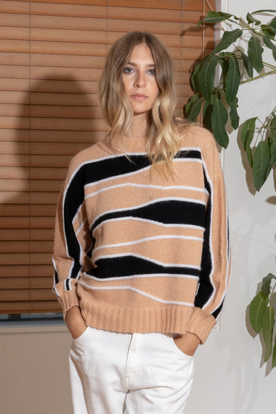 TATYANA Sweater in Taupe/Black/Cream