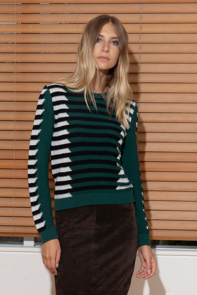 NATALIA Sweater in Forest/Black/Silver