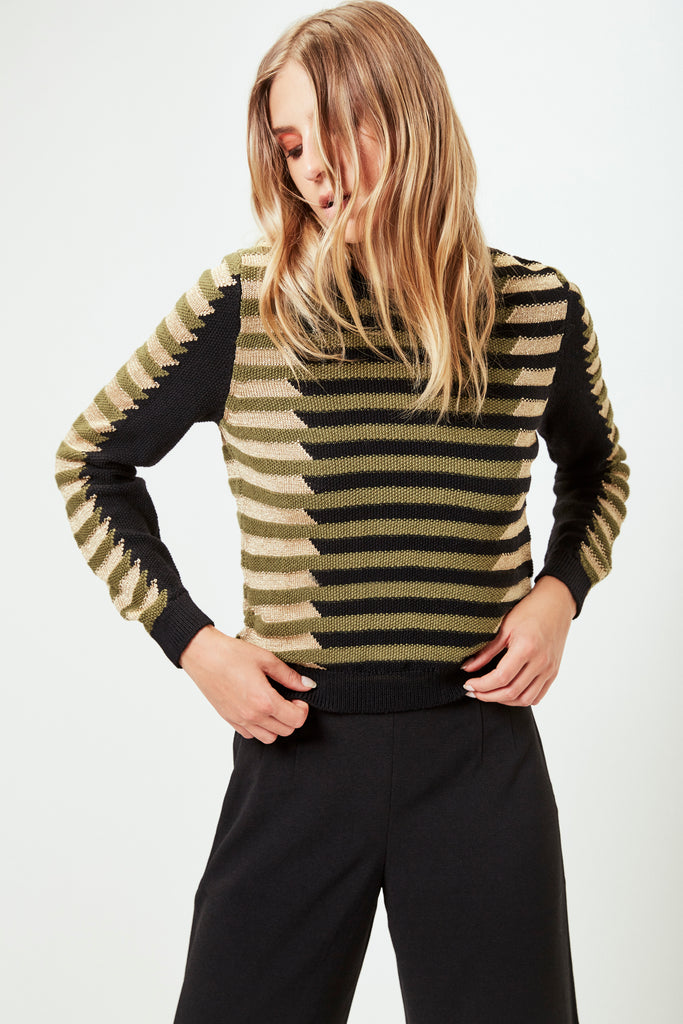 NATALIA Sweater in Olive/Black/Gold
