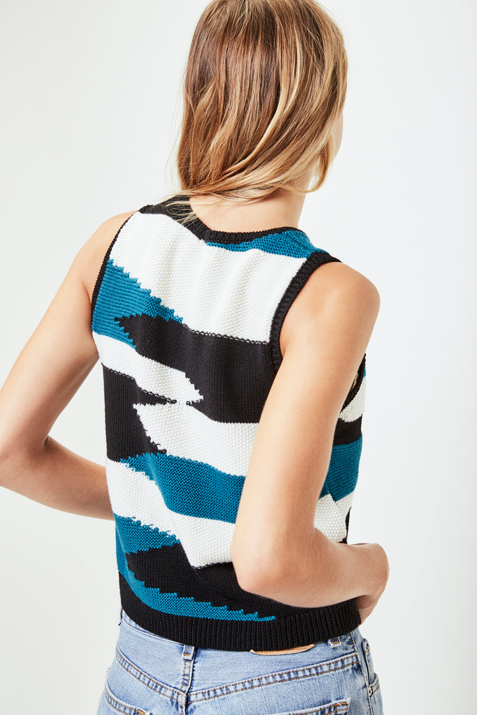 NIVES Knitted Vest in Black/White/Teal