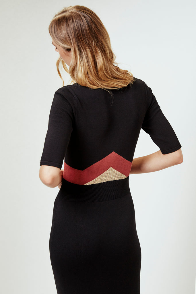 TOMICA Dress in Black/Rust/Gold