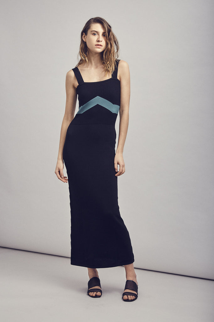LUNA Dress - Black/Green
