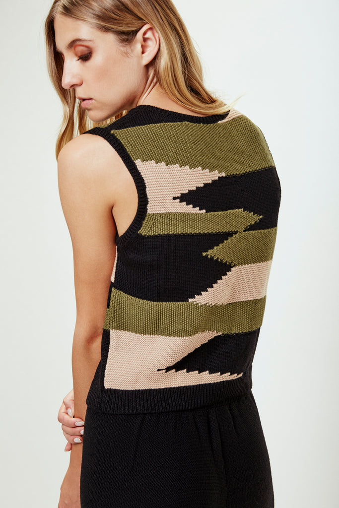 NIVES Knitted Vest in Black/Oatmeal/Olive