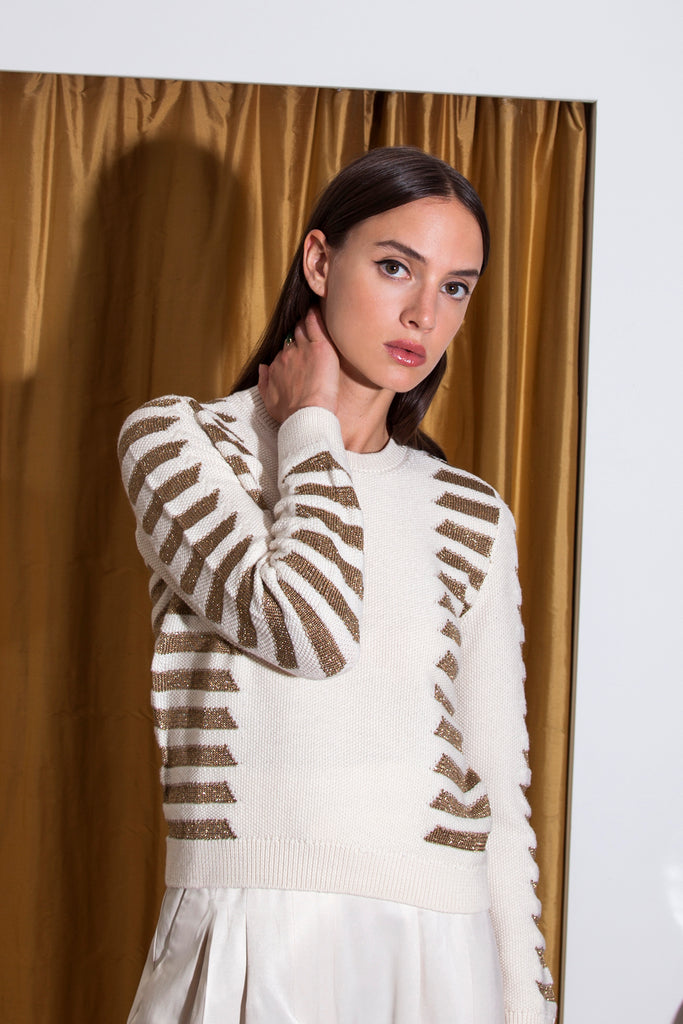 NATALIA Sweater in Cream/Bronze