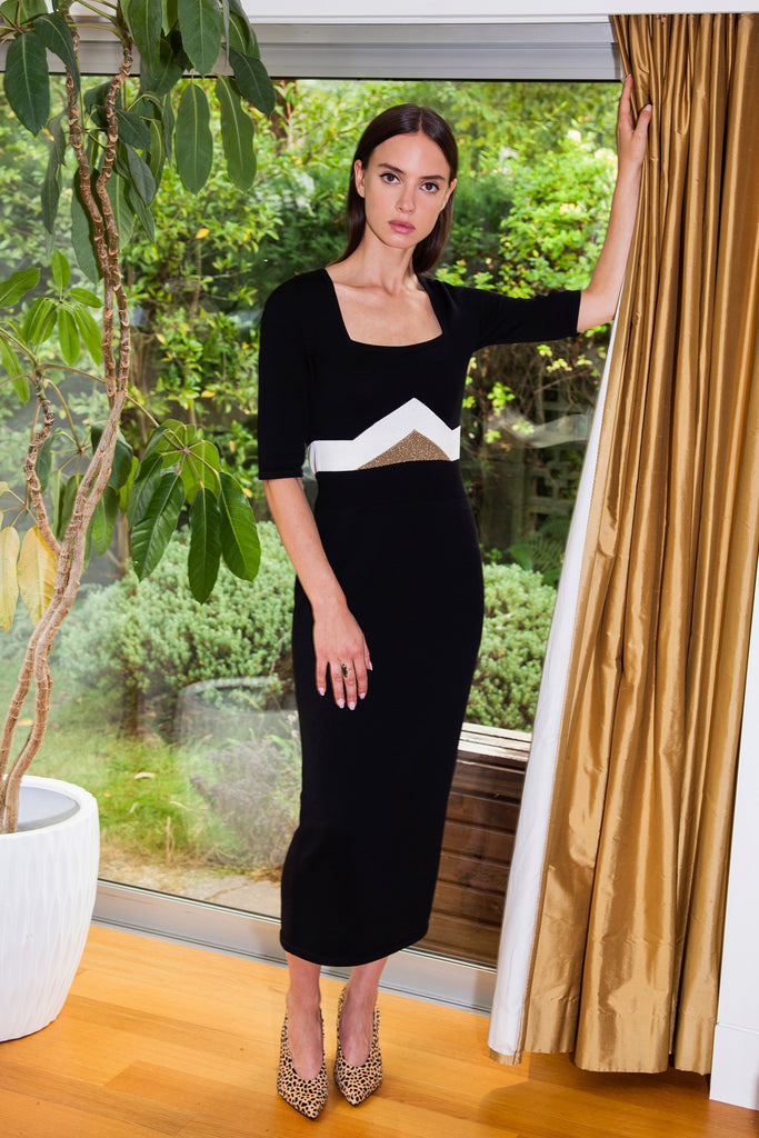 TOMICA Dress in Black/Cream/Bronze