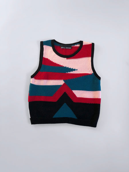 NIVES Knitted Vest in Pink/Red/Teal - S