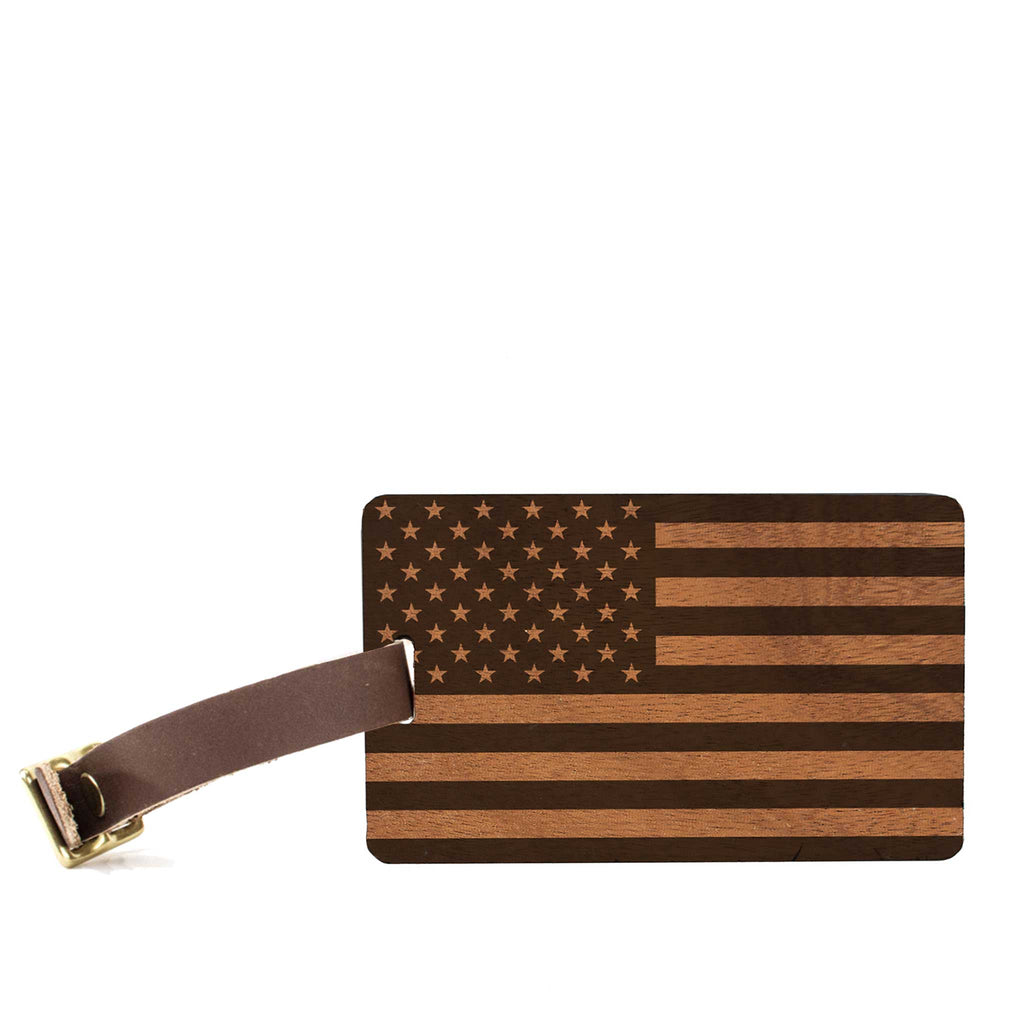 American Edition Wood Luggage Tag