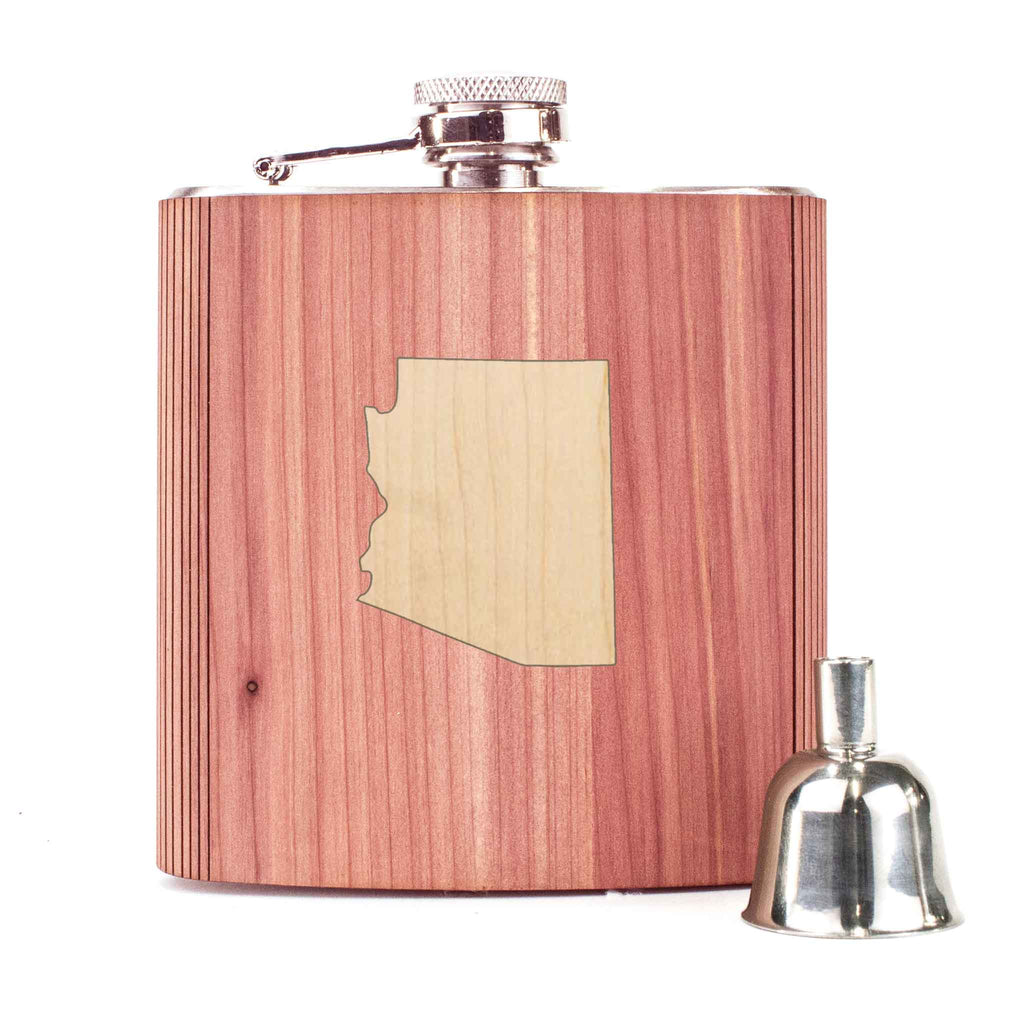 State Inlay Wood 6oz Flask