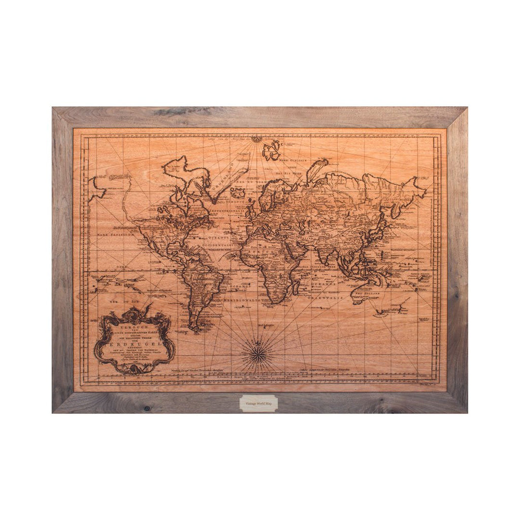 Medium Wood World Map - Woodchuck USA